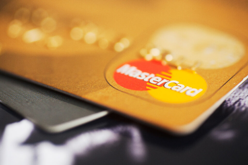 mastercard sitting on top of other credit card